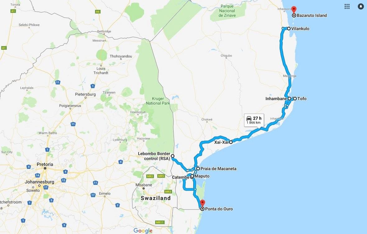 itineraire roadtrip mozambique ponta do ouro - bazaruto - lilytoutsourire