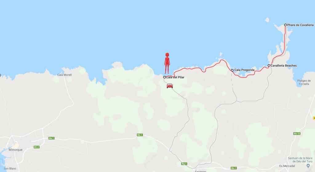 Minorque - les plages du nord - carte itinéraire 2