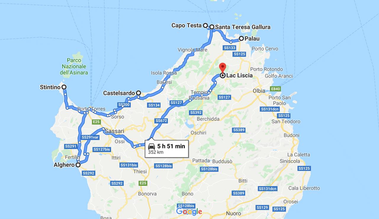 sardaigne ROADTRIP EN VAN itinéraire 1