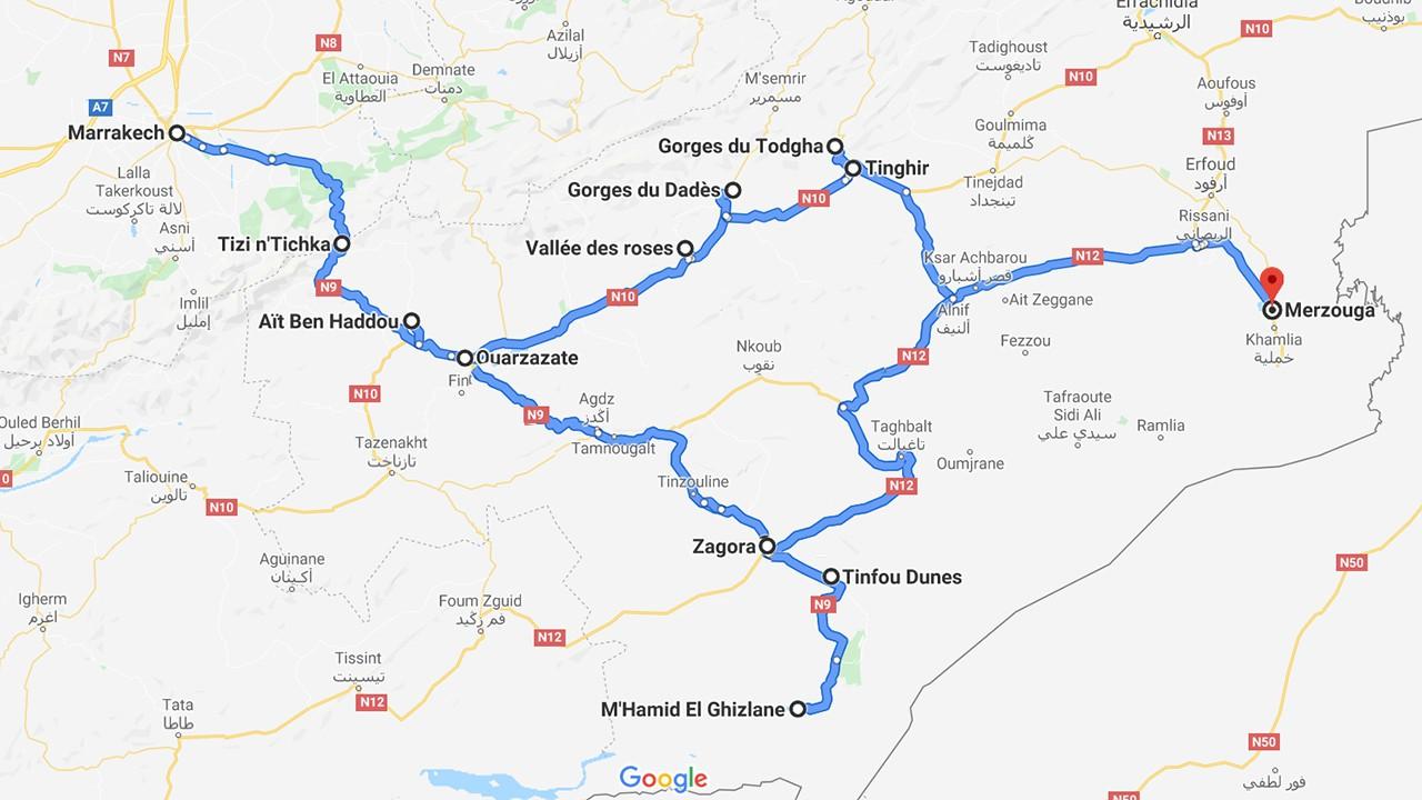 carte itinéraire le Maroc en van - de Ouarzazate à Merzouga