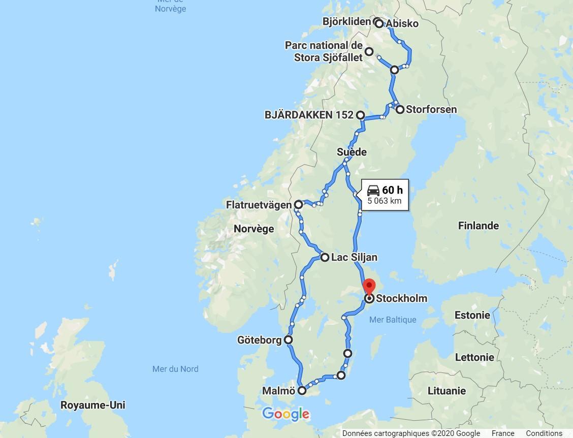 carte itinéraire en van - Suède et Laponie