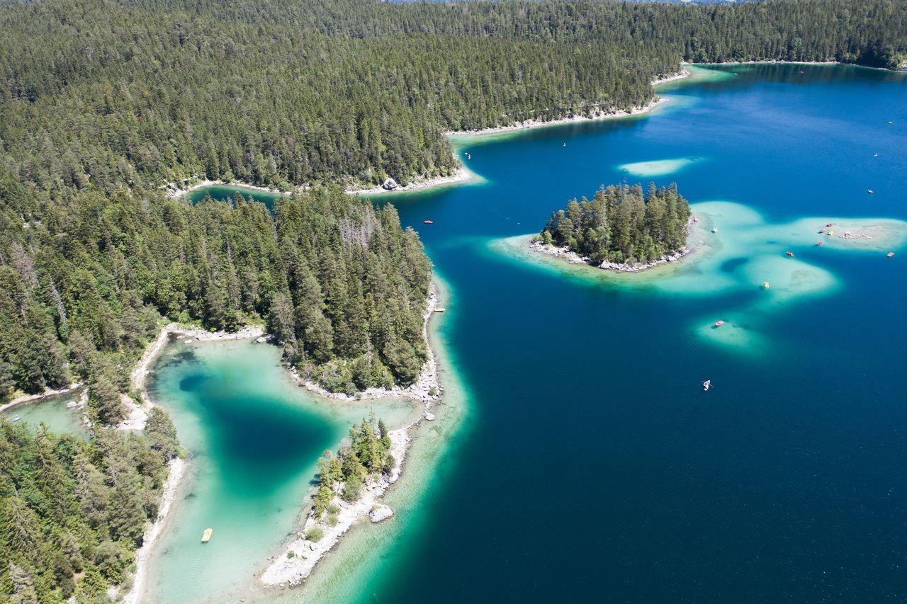 Allemagne- à la décourverte de la Bavière - lac Eibsee - vue aérienne (1)
