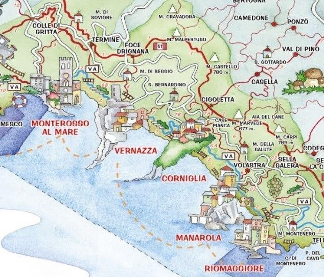 carte cinque terre italie